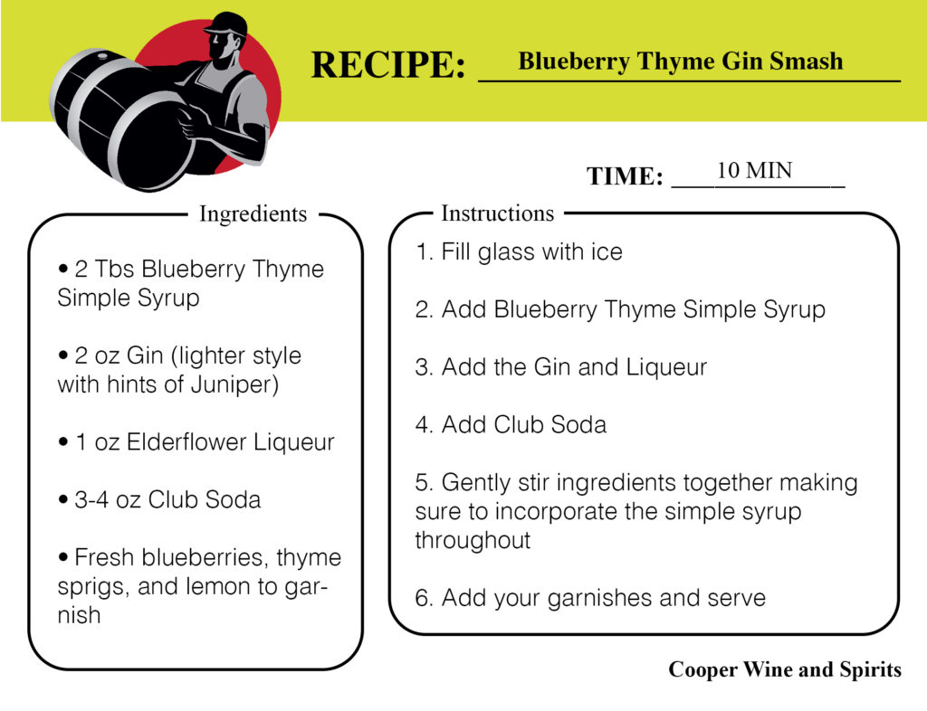 blueberry thyme gin smash recipe card